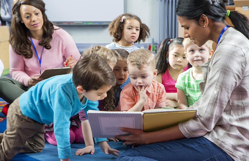 kindergarten kids with teachers